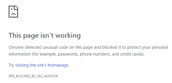 Blocked by the Chrome XSS auditor